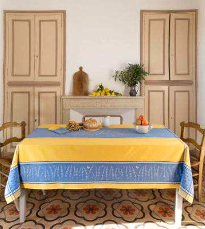 French Jacquard tablecloth, Teflon (Grignan. 4 colors)