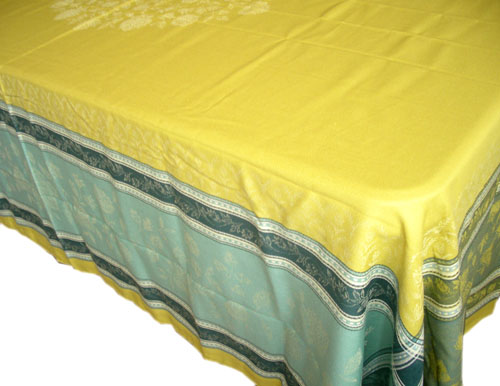 Jacquard tablecloth Teflon (Ramatuelle. yellow green/blue)