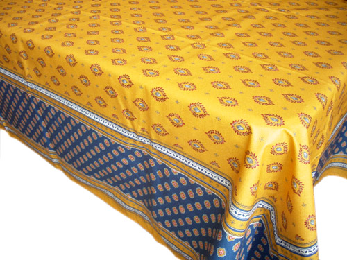 French coated tablecloth (Sormiou. yellow/blue)