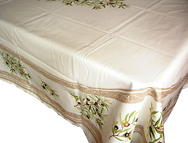 French coated tablecloth (olives 2005. white x beige)