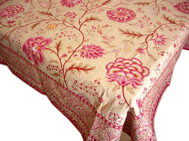 French Jacquard multi-cover (Montespan. Linen × roses)