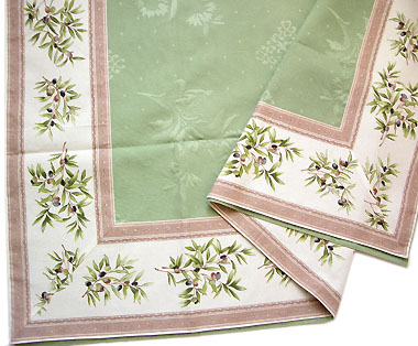 French Jacquard multi cover (Olives 2009. raw × mint green)