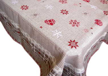 French Jacquard multi-cover (Hiver. taupe / red)