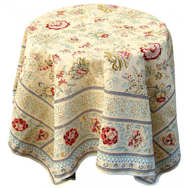 French Jacquard tablecloth / multi-cover (GARANCE.vanilla-green)