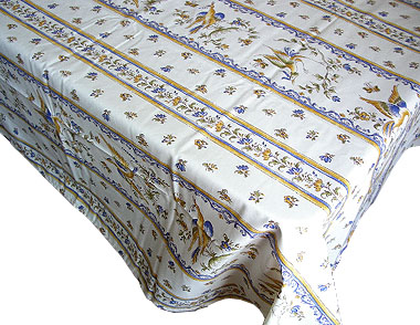 French coated tablecloth, linear (Moustiers. white x blue)