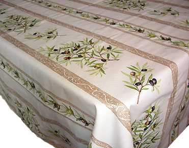 French coated tablecloth (olives 2005. raw)