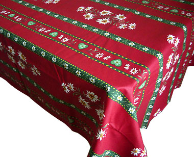 Coated Tablecloth (Christmas. Edelweiss Bordeaux X Green)