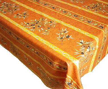 French coated tablecloth (olives 2005. terracotta x orange)
