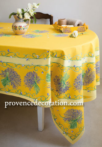 French coated tablecloth (Lavender. yellow)