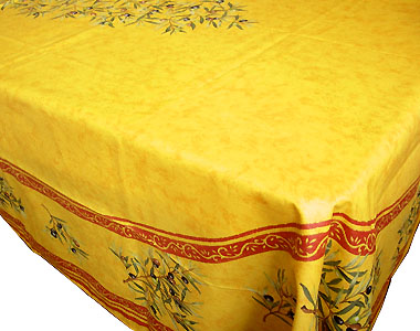 French coated tablecloth (olives 2005. yellow x red)
