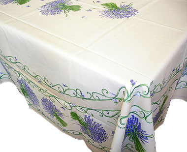 French coated tablecloth (Lavender. raw)