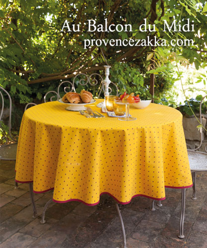 French Round Tablecloth coated (Calissons. yellow x red)