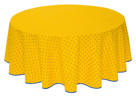 French Round Tablecloth coated (Calissons. yellow x blue)