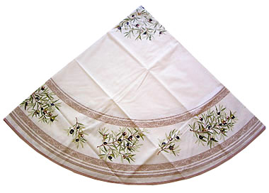 French Round Tablecloth Coated (olives 05. white x beige)