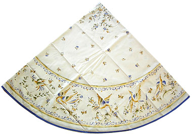 French Round Tablecloth Coated (Moustiers. white x blue)