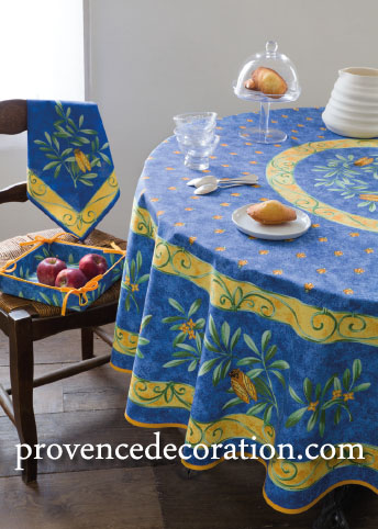 French Round Tablecloth Coated (cicada. blue)