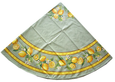 French Round Tablecloth Coated (Menton, lemons. green)