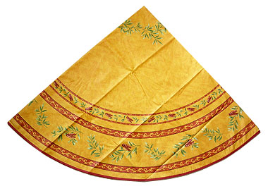 French Round Tablecloth Coated (cicada. orange x yellow)