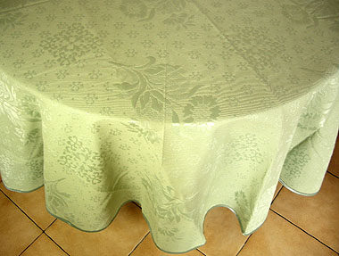 Round Jacquard Tablecloth sunflowers mint green French