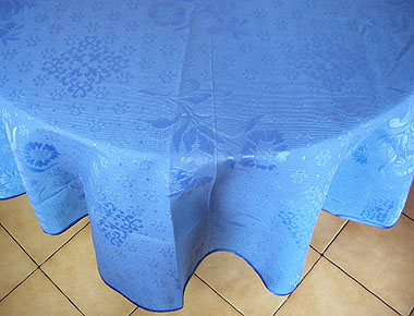 Round Jacquard Tablecloth (sunflowers. blue)