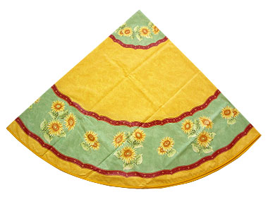 French Round Tablecloth Coated (Beausoleil sunflowers. green)