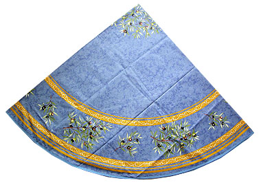 French Round Tablecloth Coated (olives 2005. blue x yellow)