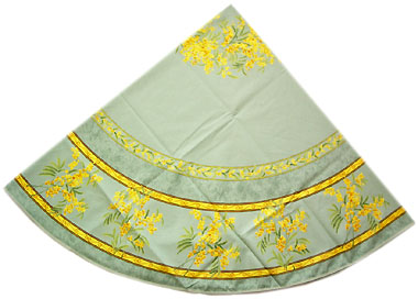 French Round Tablecloth Coated (mimosa. mint green)
