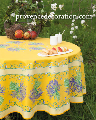 French Round Tablecloth Coated (lavender. Yellow)