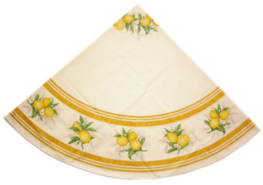 French Round Tablecloth Coated (Menton, lemons. white)