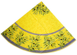 French Round Tablecloth Coated (olives. yellow)