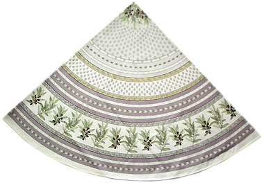 French round coated tablecloth (olives tamaris. purple)