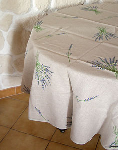 Round linen tablecloth (lavender)