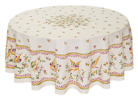 French Round Tablecloth coated or cotton Moustiers raw pink