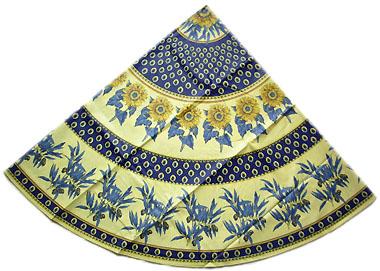 Round Tablecloth Coated (sunflowers U0026 Olives. Marine)