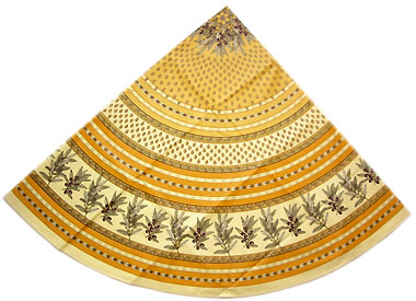 French round coated tablecloth (olives tamaris. safran yellow)