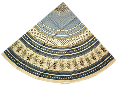 French round coated tablecloth (olives tamaris. blue)