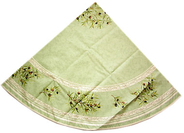 French Round Tablecloth Coated (olives 05. green)