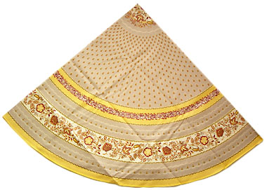French round coated tablecloth (Ellora. safran)