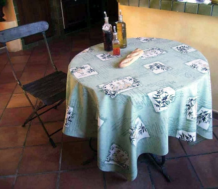 French Round Tablecloth Coated Olives Les Baux Mint