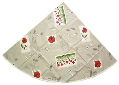 French Round Tablecloth Coated (coquelicot / poppy. grey)