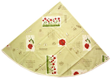 French Round Tablecloth Coated (coquelicot / poppy. light green)