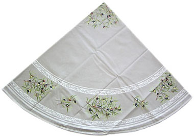 French Round Tablecloth Coated (olives 05. taupe)