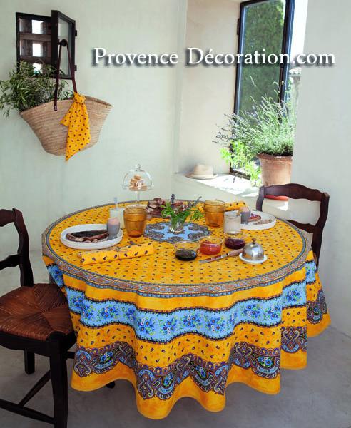 Round Tablecloth Coated (Marat Du0027Avignon / Tradition. Yellow)