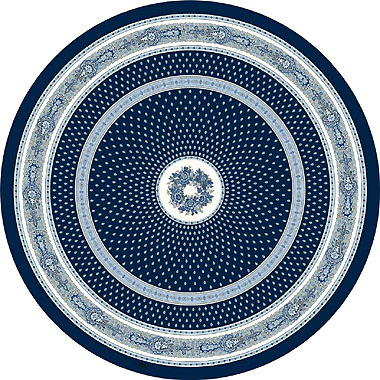 Round Tablecloth Coated (Marat d'Avignon / bastide. marine blue)