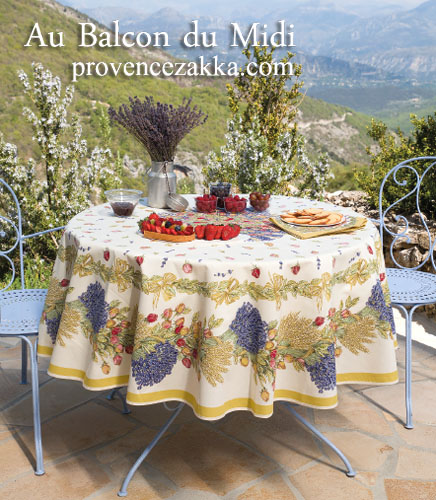French Round Tablecloth Coated (Lavender & roses. raw)