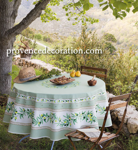 French Round Tablecloth Coated (Ramatuelle. Mint green)