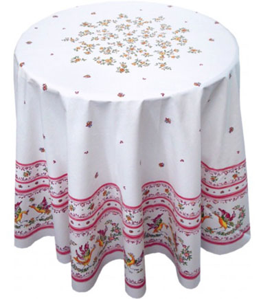 French Round Tablecloth Coated (Moustiers2014. white x rose)