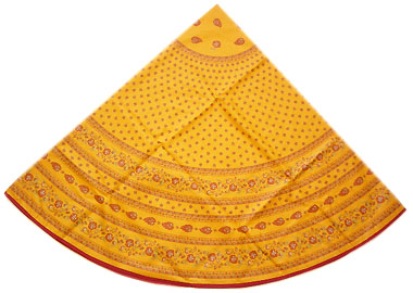French Round Tablecloth WCoated (leave small pattern. yellow)