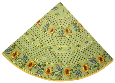 French Round Tablecloth WCoated (sunflowers. green)