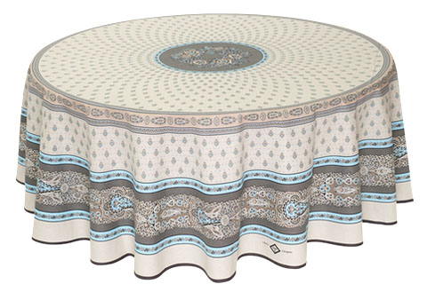 Round Tablecloth Coated (Marat d'Avignon / bastide. Turquoise)